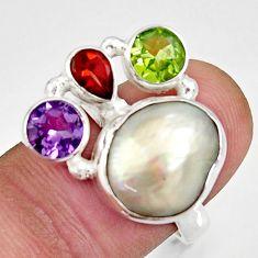 925 silver 10.33cts natural white biwa pearl amethyst garnet ring size 7 d35659