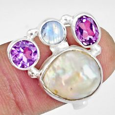 10.54cts natural white biwa pearl moonstone amethyst silver ring size 7 d35661