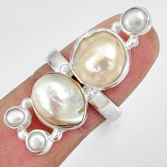 14.40cts natural white biwa pearl pearl 925 sterling silver ring size 7 d35662