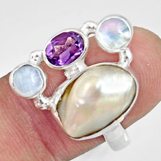 Clearance Sale- 10.33cts natural white biwa pearl moonstone 925 silver ring size 7.5 d35663