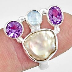 9.39cts natural white biwa pearl moonstone 925 silver ring size 7.5 d35666