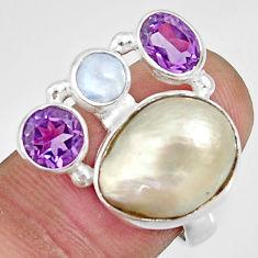 10.89cts natural white biwa pearl moonstone amethyst silver ring size 6.5 d35667