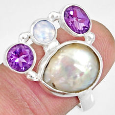 10.30cts natural white biwa pearl moonstone 925 silver ring size 7.5 d35669