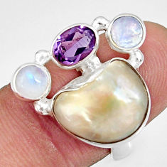 10.53cts natural white biwa pearl moonstone 925 silver ring size 6.5 d35670