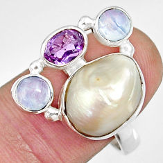 11.54cts natural white biwa pearl moonstone 925 silver ring size 8.5 d35672