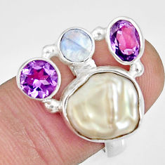 9.72cts natural white biwa pearl moonstone amethyst silver ring size 7 d35673