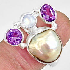 925 silver 10.33cts natural white biwa pearl moonstone ring size 7.5 d35674
