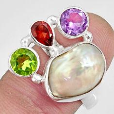 11.22cts natural white biwa pearl amethyst 925 silver ring size 8 d35675