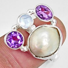 11.21cts natural white biwa pearl moonstone 925 silver ring size 7 d35676