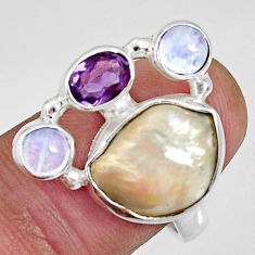 925 silver 10.89cts natural white biwa pearl moonstone ring size 8.5 d35677