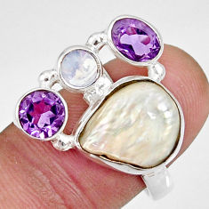 10.53cts natural white biwa pearl moonstone 925 silver ring size 7.5 d35679