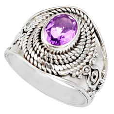 Clearance Sale- 2.11cts natural purple amethyst 925 silver solitaire ring jewelry size 7 d35682