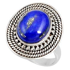 Clearance Sale- 5.41cts natural blue lapis lazuli 925 silver solitaire ring size 7 d35688