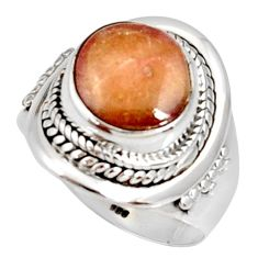 Clearance Sale- 5.75cts natural pink bio tourmaline 925 silver solitaire ring size 7 d35693