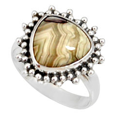 Clearance Sale- 6.31cts natural mexican laguna lace agate silver solitaire ring size 8 d35696