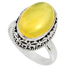 Clearance Sale- 6.62cts natural yellow owyhee opal 925 silver solitaire ring size 7 d35708