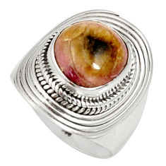 Clearance Sale- 925 silver 6.02cts natural pink bio tourmaline solitaire ring size 7.5 d35709
