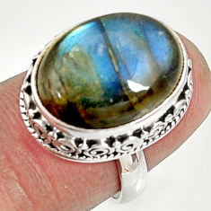Clearance Sale- 11.22cts natural blue labradorite 925 silver solitaire ring size 6.5 d35716
