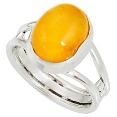 4.69cts natural yellow amber bone 925 silver solitaire ring size 6.5 d35725