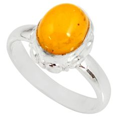 4.23cts natural yellow amber bone 925 silver solitaire ring size 8 d35734