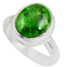 Clearance Sale- 5.38cts natural green chrome diopside 925 silver solitaire ring size 7 d35741