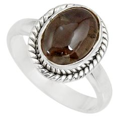 Clearance Sale- 4.43cts natural spectrolite cat's eye 925 silver solitaire ring size 6.5 d35742