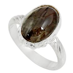 4.43cts natural brown spectrolite cat's eye 925 silver ring size 6.5 d35743