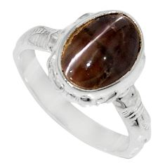 Clearance Sale- 4.28cts natural spectrolite cat's eye 925 silver solitaire ring size 5.5 d35744