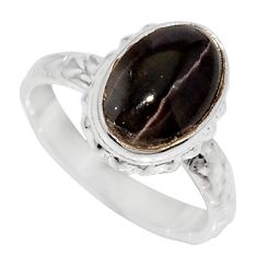 Clearance Sale- 925 silver 4.69cts natural spectrolite cat's eye solitaire ring size 6.5 d35745