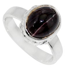 Clearance Sale- 4.42cts natural spectrolite cat's eye 925 silver solitaire ring size 7 d35746