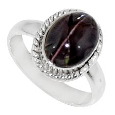 Clearance Sale- 4.28cts natural spectrolite cat's eye 925 silver solitaire ring size 7 d35747