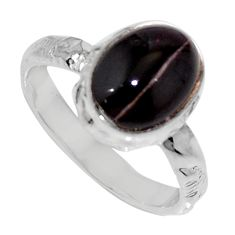 Clearance Sale- 925 silver 4.28cts natural spectrolite cat's eye solitaire ring size 6 d35748