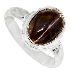 Clearance Sale- 4.28cts natural spectrolite cat's eye 925 silver solitaire ring size 6.5 d35749