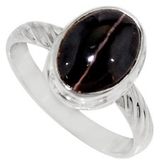 Clearance Sale- 4.42cts natural spectrolite cat's eye 925 silver solitaire ring size 8 d35750