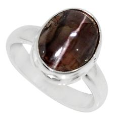 4.42cts natural brown spectrolite cat's eye silver solitaire ring size 6 d35751
