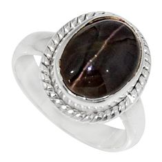 Clearance Sale- 925 silver 5.11cts natural spectrolite cat's eye solitaire ring size 5.5 d35752