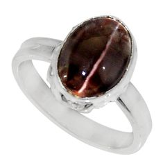 Clearance Sale- 4.42cts natural spectrolite cat's eye 925 silver solitaire ring size 6.5 d35753