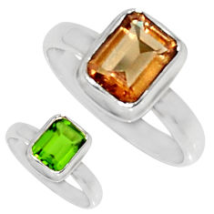 3.46cts green alexandrite (lab) 925 silver solitaire ring size 5.5 d35754
