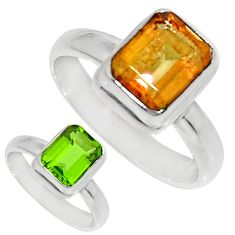 Clearance Sale- 3.02cts green alexandrite (lab) 925 silver solitaire ring size 7.5 d35758