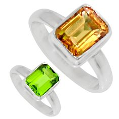 3.01cts green alexandrite (lab) 925 silver solitaire ring jewelry size 7 d35759