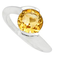Clearance Sale- 3.01cts natural yellow citrine 925 silver solitaire ring jewelry size 5.5 d35765