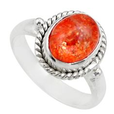 Clearance Sale- 4.06cts natural orange sunstone 925 silver solitaire ring size 7 d35768