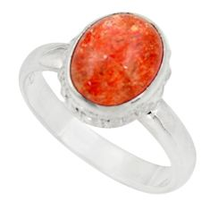 Clearance Sale- 4.51cts natural orange sunstone oval 925 silver solitaire ring size 7.5 d35769