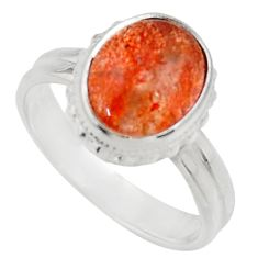 Clearance Sale- 5.28cts natural orange sunstone 925 silver solitaire ring size 8.5 d35770
