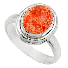 Clearance Sale- 4.52cts natural orange sunstone 925 silver solitaire ring size 7 d35771