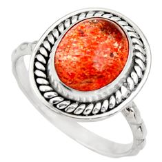 Clearance Sale- 925 silver 4.90cts natural orange sunstone oval solitaire ring size 7.5 d35772
