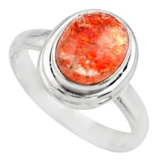 Clearance Sale- 4.17cts natural orange sunstone 925 silver solitaire ring size 8 d35773