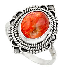Clearance Sale- 5.11cts natural orange sunstone 925 silver solitaire ring size 8.5 d35774