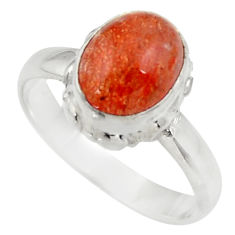 Clearance Sale- 4.46cts natural orange sunstone 925 silver solitaire ring size 8 d35775