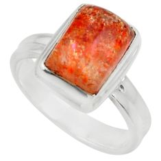 Clearance Sale- 4.46cts natural orange sunstone octagan 925 silver solitaire ring size 7 d35776